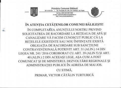 News update | To the attention of the citizens of Balilesti! @ Primaria Comunei Balilesti